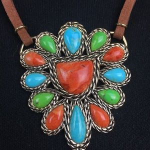 Barse turquoise coral magnesite bronze necklace